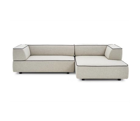 FEST Amsterdam Sofa Nolan 2-seater with longchair right gray kvadrat Tonica 111 textile 250x x95 / 155x70cm