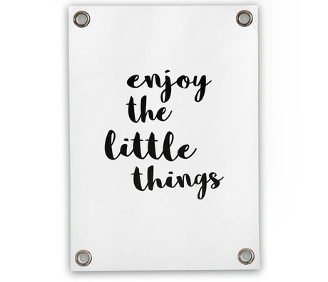 Sipp outdoor Tuinposter Enjoy the little things wit zwart kunststof vinyl S 50x70cm