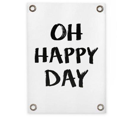 Sipp outdoor Tuinposter Oh happy day wit zwart kunststof vinyl S 50x70cm