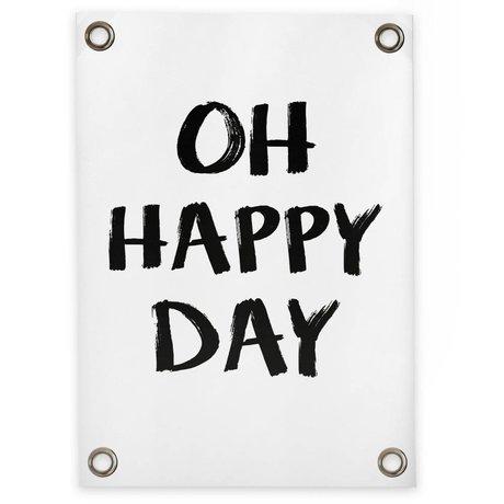 Sipp outdoor Tuinposter Oh happy day wit zwart kunststof vinyl L 70x100cm
