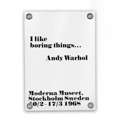 Sipp outdoor Tuinposter Andy Warhol - boring wit zwart kunststof vinyl S 50x70cm