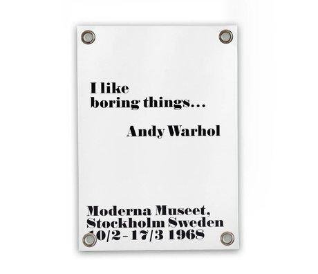 Sipp outdoor Tuinposter Andy Warhol - boring wit zwart kunststof vinyl L 70x100cm