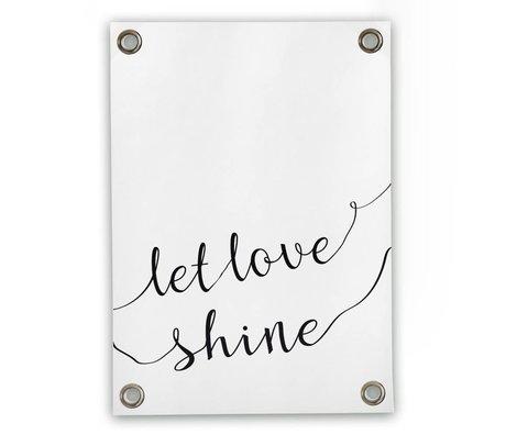 Tuinposter Let love shine wit zwart kunststof vinyl L 70x100cm