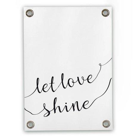 Sipp outdoor Tuinposter Let love shine wit zwart kunststof vinyl L 70x100cm