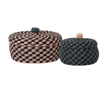 Ferm Living Storage baskets Braided multicolored woven paper Ø29x18cm