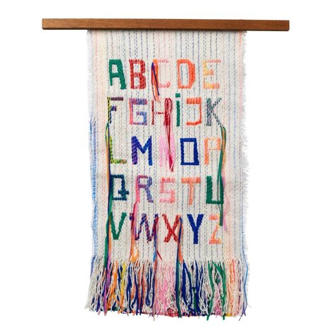 Ferm Living ABC multicolored tapestry textile wood 33x61cm
