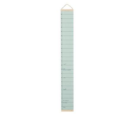 Ferm Living Groeimeter mintgrün Papier Holz 15x1,5x122cm