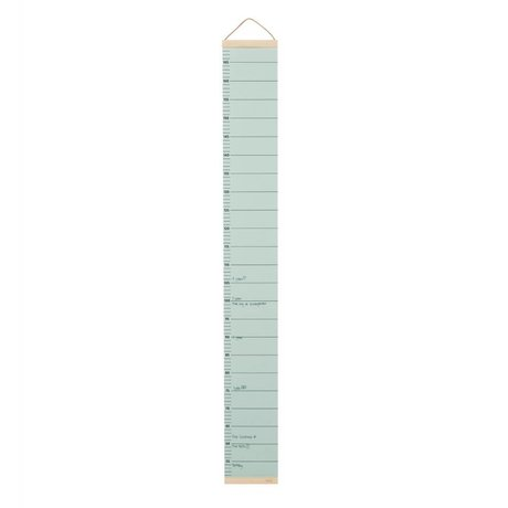 Ferm Living Groeimeter mint green paper timber 15x1,5x122cm