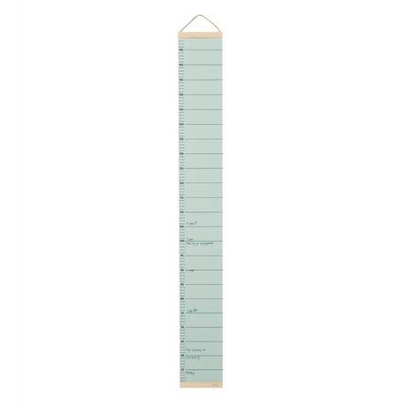 Ferm Living Groeimeter mint green paper timber 15x1,5x122cm