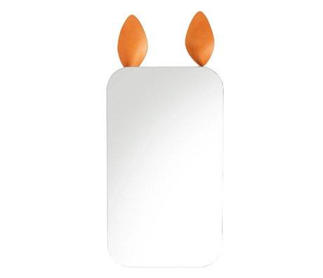 Ferm Living Spiegel Rabbit bruin spiegelglas metaal leer 25x44cm