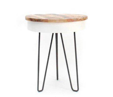 LEF collections Side Table Saria white brown wood black metal Ø44x53cm