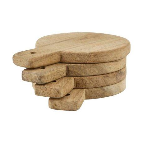 Nicolas Vahe Serve Plate light brown wood set of 4 Ø10x14cm
