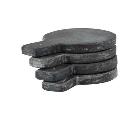 Nicolas Vahe Serveerbord grijs leisteen set van 4 Ø10x14cm