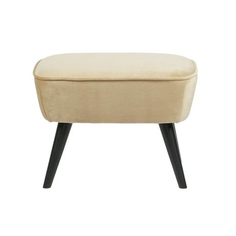 LEF collections Hocker Sara champagne créme fluweel polyester 56x36x41cm