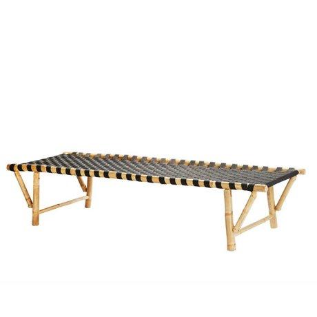 Madam Stoltz Lounger natürliche braun schwarz Bambus 190x75x40cm