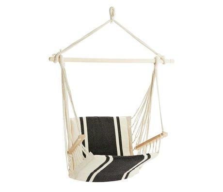 Madam Stoltz Hangstoel gebroken wit zwart polykatoen hout 50x50x100cm