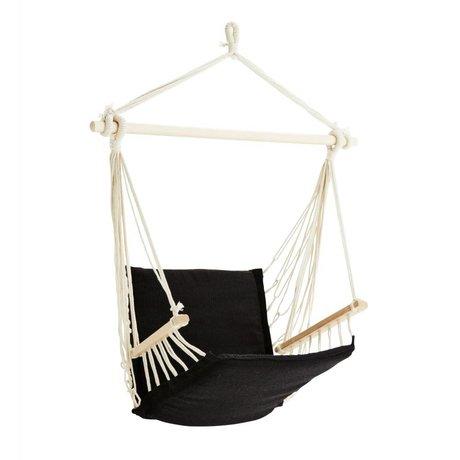 Madam Stoltz Hangstoel schwarz Polybaumwolle Holz 50x50x100cm