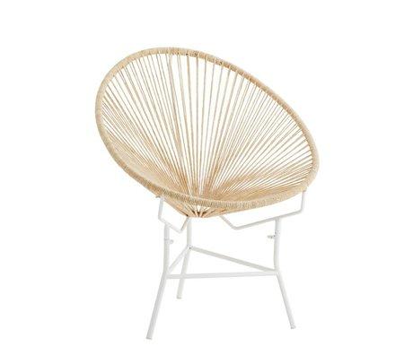 Madam Stoltz Stuhl beige weißes Metall Baumwolle 77x71x86cm