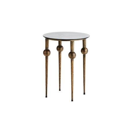 Madam Stoltz End Table Konsole Messing Gold Glas schwarz Metall Ø47x60cm