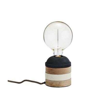Madam Stoltz Tischlampe Streifen schwarz weiß braun Holz Ø11x11cm