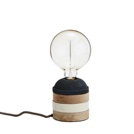 Madam Stoltz Tafellamp Stripe zwart wit bruin hout Ø11x11cm