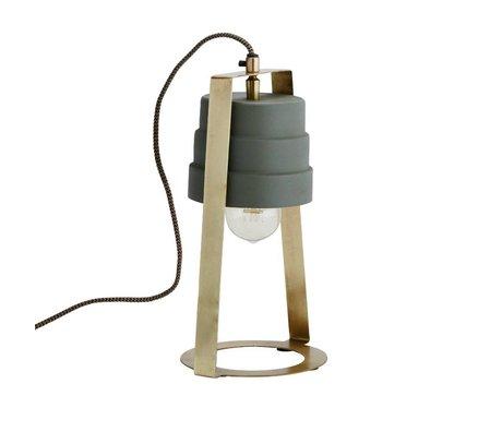 Madam Stoltz Lampe de table en laiton vert 17x14x31cm en métal doré