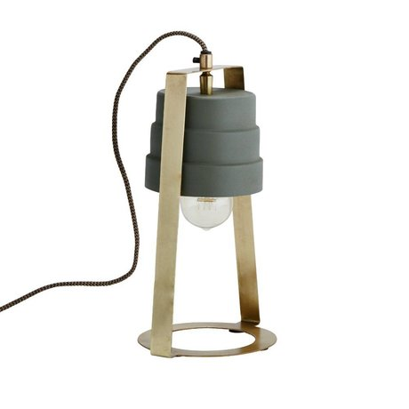 Madam Stoltz Tafellamp groen brass goud metaal 17x14x31cm