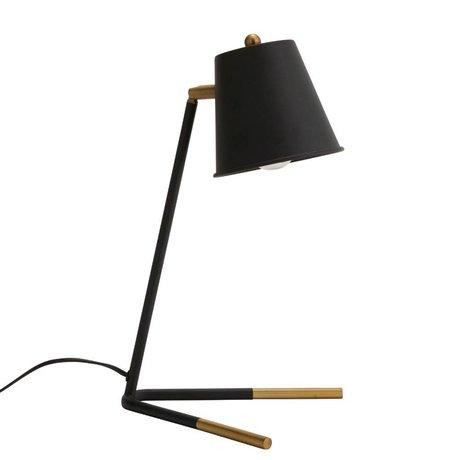 Madam Stoltz Tafellamp mat zwart brass goud metaal 23x40cm