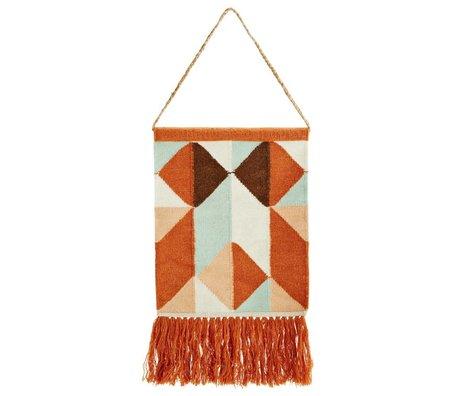 Madam Stoltz Wandkleed oranje multicolour wol 40x105cm