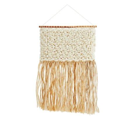 Madam Stoltz crème Tapisserie laine de jute 48x95cm