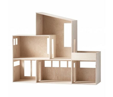 Ferm Living Display Funky huis lichtbruin hout 66,8x55,5x20cm