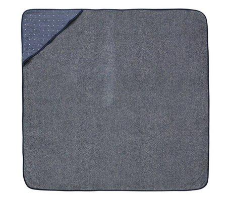 Ferm Living Handdoek Sento Baby met capuchon blauw katoen 98x98cm