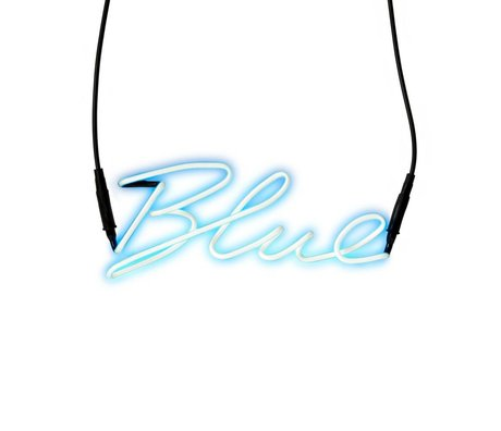 Seletti Wandlampenschirme Neon-blau mit blauem Glas Transformator 30,5x12,3cm