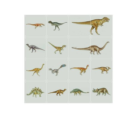 IXXI Wanddecoratie Dino World multicolour 16 kaartjes 20x20cm