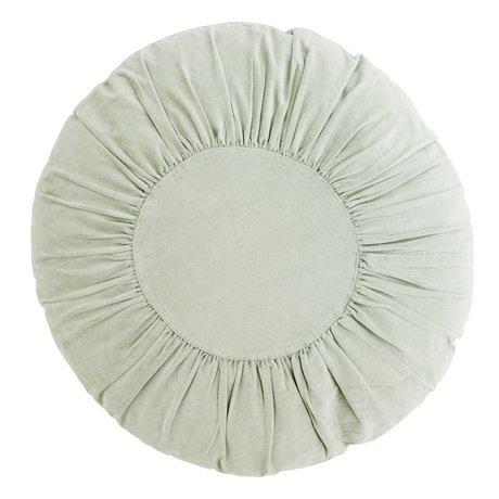Madam Stoltz Velvet Coussin rond léger coton Ø60cm vert