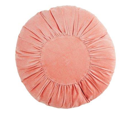 Madam Stoltz Velvet coussin autour de corail coton Ø60cm rose