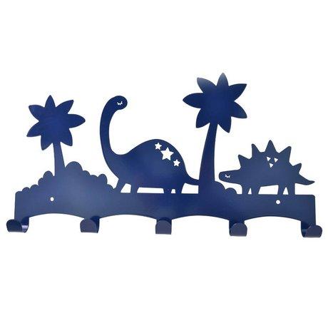 Eina Design Kapstok Dino blauw metaal 40x21,5cm