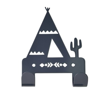 Eina Design Wall Hook Tipi anthracite gray metal 10x14,5cm