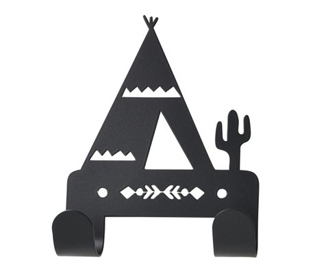 Eina Design Wandhaak Tipi zwart metaal 10x14,5cm