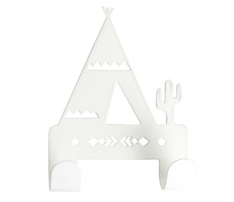 Eina Design Wandhaak Tipi wit metaal 10x14,5cm