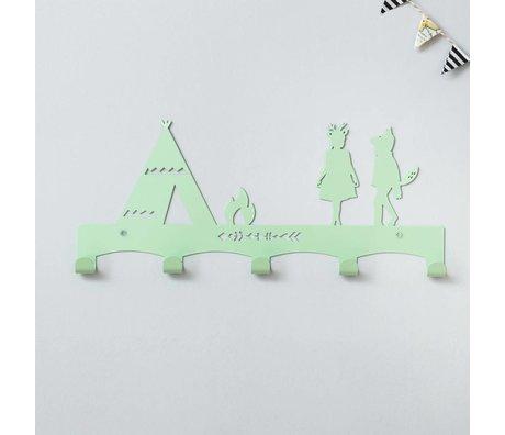 Eina Design Porte-manteau menthe Tipi 40x17cm en métal vert