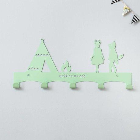 Eina Design Kapstok Tipi mintgroen metaal 40x17cm