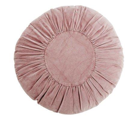 Madam Stoltz Coussin de velours prune ronde coton violet Ø60cm