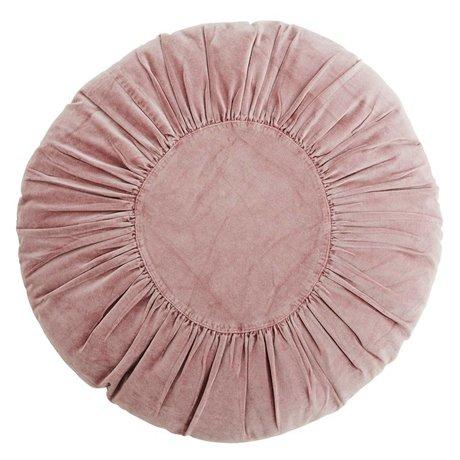 Madam Stoltz Kussen Velvet rond plum paars katoen Ø60cm