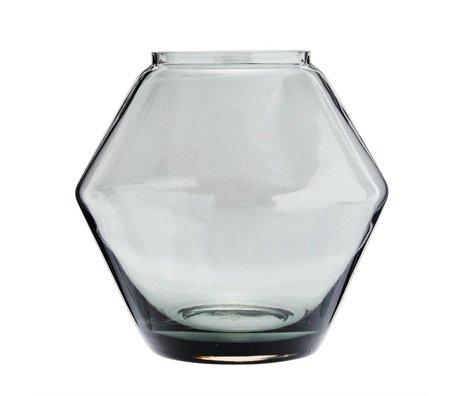 Madam Stoltz Vaas stapelbaar grijs glas Ø22x20,5cm