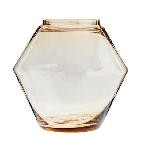 Madam Stoltz Vaas stapelbaar cognac bruin glas Ø22x20,5cm