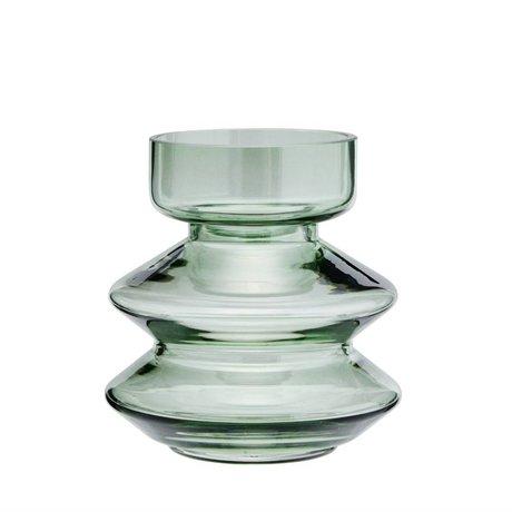 Madam Stoltz Vaas stapelbaar groen glas Ø13,5x14,5cm