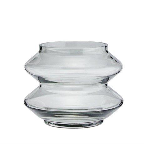 Madam Stoltz Vaas stapelbaar grijs glas Ø13,5x10,5cm