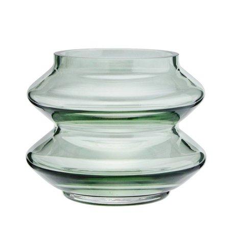 Madam Stoltz Green glass vase stackable Ø13,5x10,5cm
