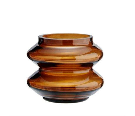 Madam Stoltz Vaas stapelbaar oranje glas Ø13,5x10,5cm